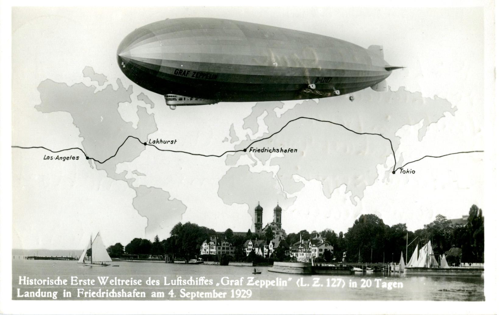 Eine Fotomontage zur Weltfahrt 1929 zeigt LZ 127 Graf Zeppelin über dem Globus (Hochformat oder Querformat). Bildquelle: Archiv der Luftschiffbau Zeppelin GmbH