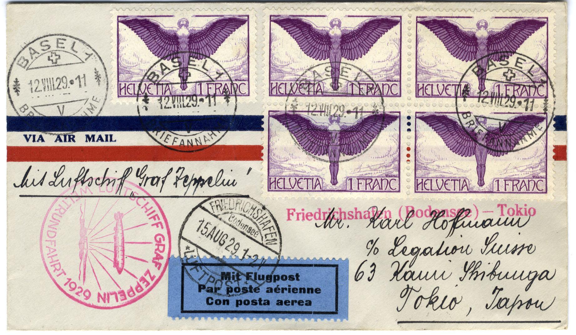 Zeppelin-Sammlerpost mit Sonderstempel zur Weltfahrt. Bildquelle: Archiv der Luftschiffbau Zeppelin GmbH